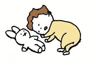 子供が人形と寝ているヨシタケさ